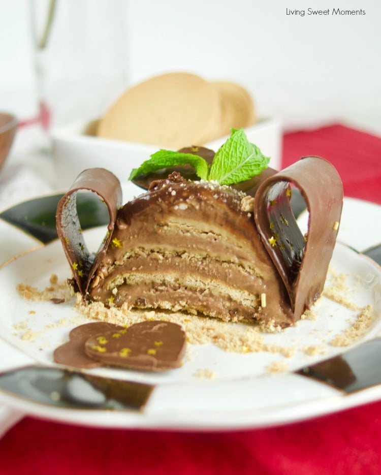 This decadent No Bake Chocolate Biscuit Cake (marquesa de chocolate) is made with condensed milk. Photo showing the cake layers from inside