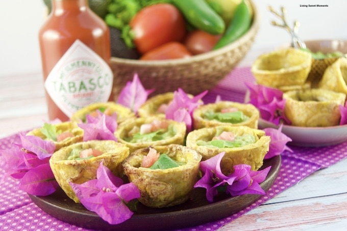Give your parties a latin twist and enjoy crispy Plantain Cups filled with spicy guacamole sprinkled with dashes of Tabasco sauce