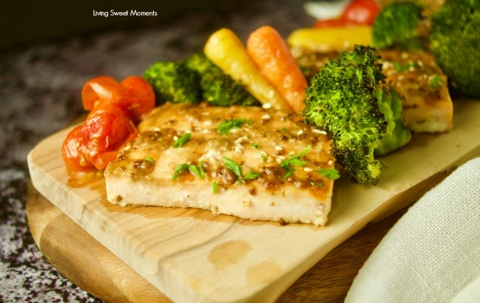 Enjoy this easy honey mustard sheet pan salmon with veggies. Ready in 25 minutes or less