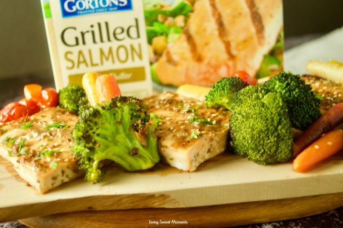 Enjoy this easy honey mustard sheet pan salmon with broccoli and colorful vegetables. Gorton's Grilled Salmon box