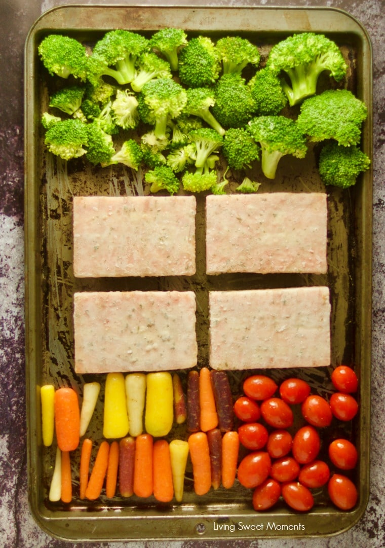 Enjoy this easy honey mustard sheet pan salmon with broccoli and colorful vegetables. Shows Gorton's Grilled Salmon before cooking