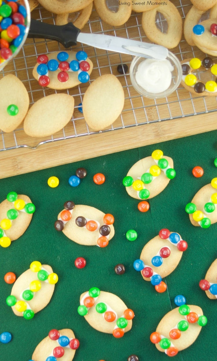 These fun M&M Football Cookies make great superbowl dessert ideas using candy