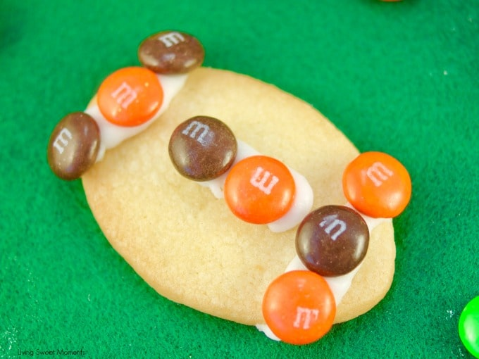 These fun M&M Football Cookies is the perfect cookie recipe using M&m's