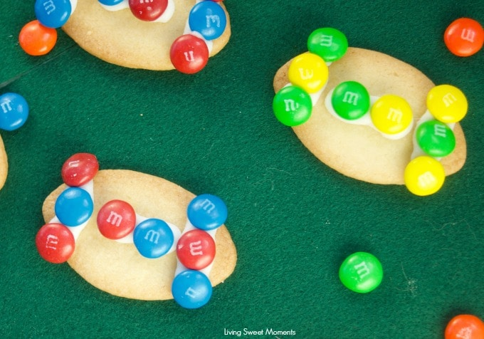 These fun M&M Football Cookies are the perfect kid friendly activity to do during the superbowl