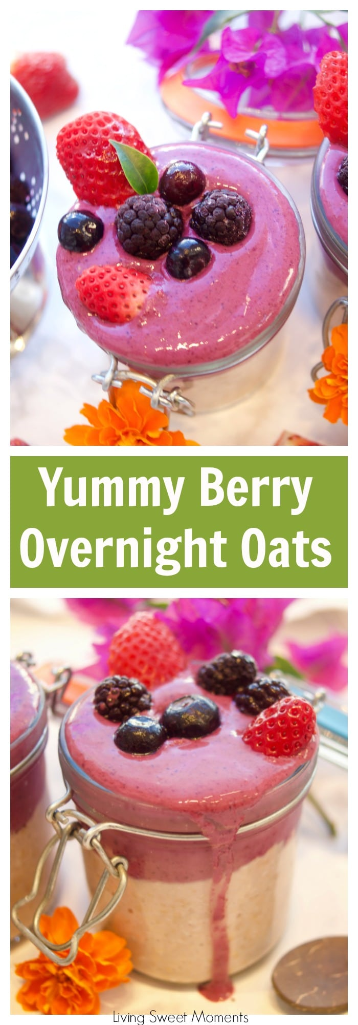 This delicious strawberry overnight oats is topped with a frosty berry smoothie. Enjoy a quick and healthy breakfast idea that will keep you going all morning. More delicius breakfast recipes at livingsweetmoments.com #ad