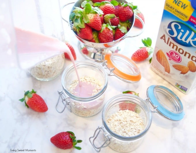 This delicious strawberry overnight oats. Pouring the milk mixture into the oats