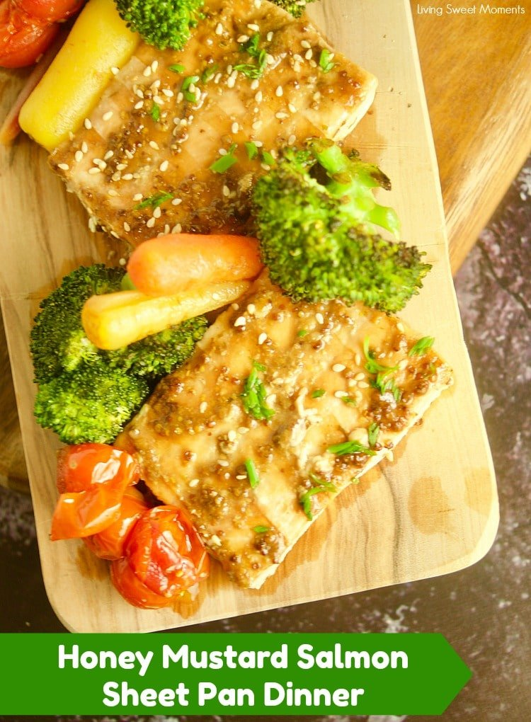 Enjoy this easy honey mustard sheet pan salmon with broccoli and colorful vegetables. Ready in 25 minutes and perfect families
