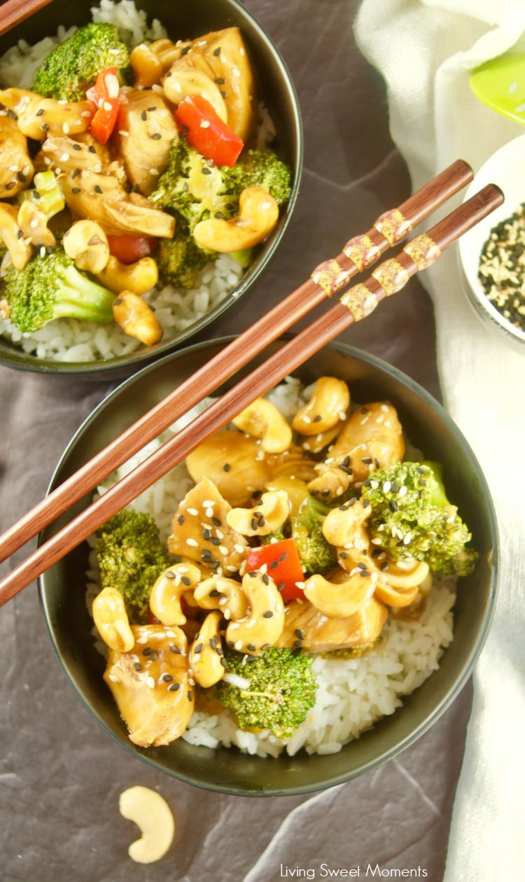 This quick and easy pressure cooker Cashew Chicken recipe is ready in no time! Made with veggies