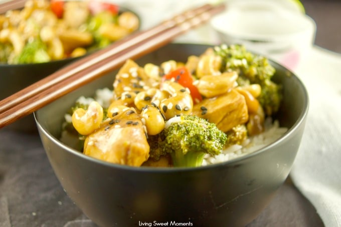 This quick and easy pressure cooker Cashew Chicken recipe is ready in 20 minutes or less and is cooked with broccoli and red peppers, cashews, and sesame seeds