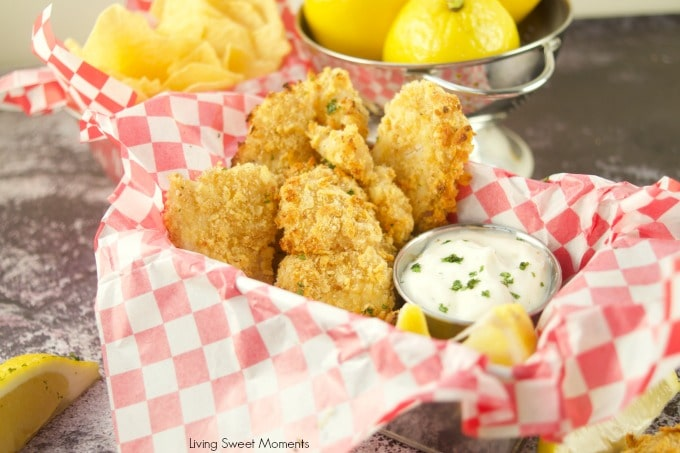 This crunchy and delicious Potato Chip Crusted Fish recipe showing the fried basked and dipping sauce