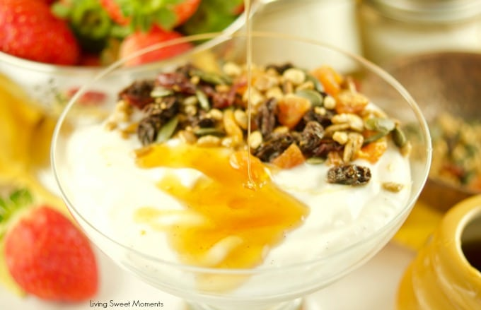 This super Easy Instant Pot Yogurt recipe requires only 1 step and 4 ingredients. No boiling, straining or checking temperature required. Cold method yogurt with honey dripping from the top