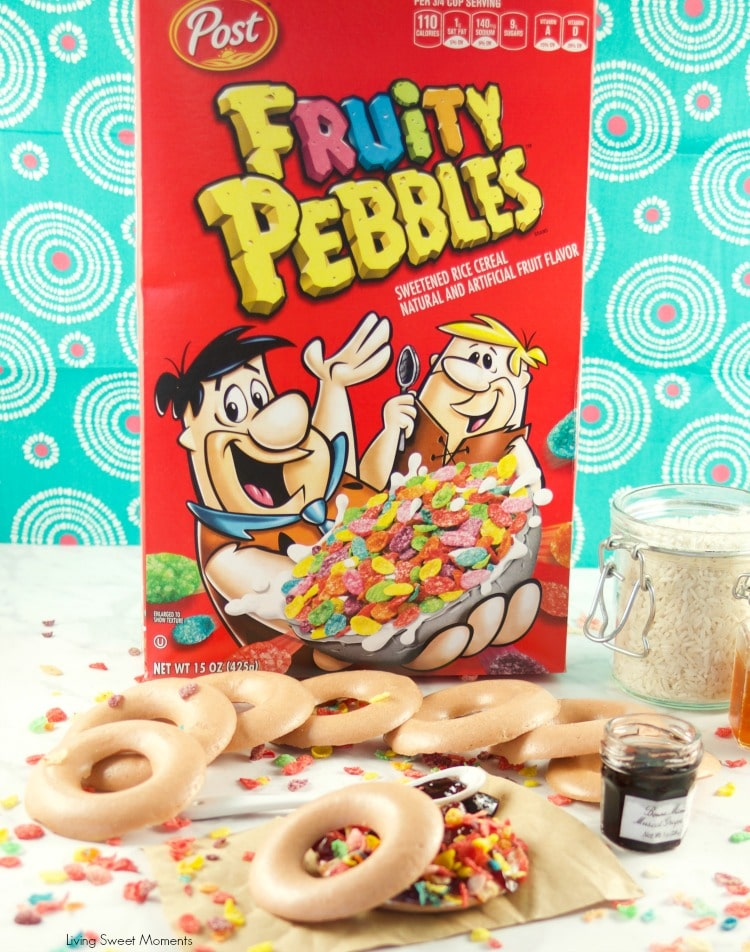 Fruity Pebbles Rice Cakes Sandwiches are baked to perfection and filled with cream cheese, fruit spread and topped with more Fruity Pebbles cereal