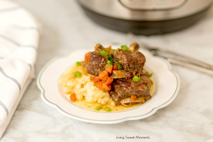 This melt in your mouth tender Instant Pot Short Ribs recipe is super easy to make and ready in less than hour. The perfect comfort food recipe to prepare for dinner any day of the week.