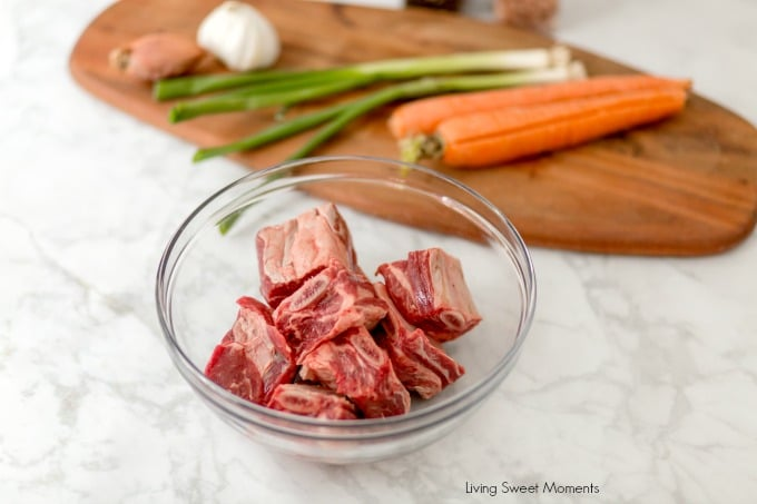 instant pot short ribs recipe showing the raw ingredients during the prep process