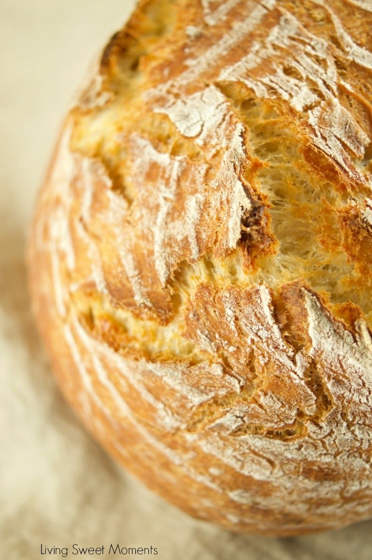 This crusty and delicious Instant Pot Sourdough Bread closeup of the loaf