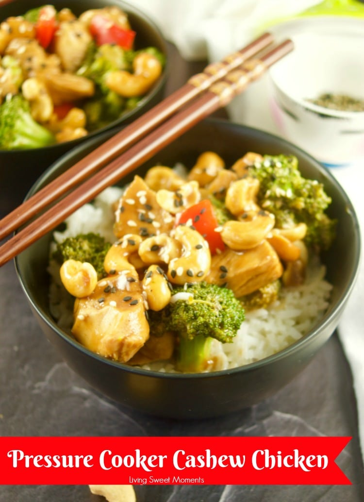 This quick and easy Pressure CookerCashew Chicken recipe is ready in 20 minutes or less and it features chicken breast, broccoli, and peppers simmered in a delicious Asian sauce