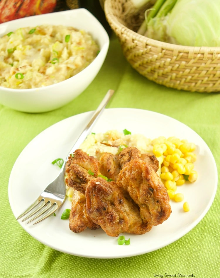 Celebrate St. Patty's day with a hefty bowl of Irish Colcannon Potatoes made with leeks and cabbage served with grilled chicken thighs