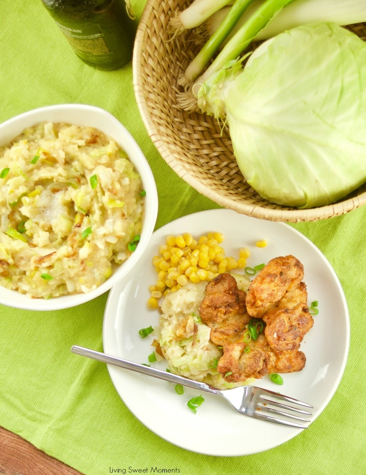 Celebrate St. Patty's day with a hefty bowl of Irish Colcannon Potatoes shown with grilled chicken