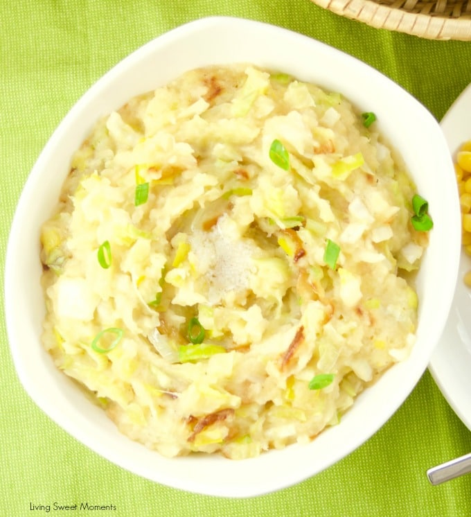 Celebrate St. Patty's day with a hefty bowl of Irish Colcannon Potatoes made with leeks, cabbage. Perfect as a side dish to any meal