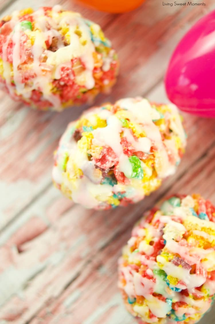 Celebrate Easter with these delicious no-bake Fruity Pebbles Eggs topped with a tangy lemon glaze. The perfect kid-friendly treat!