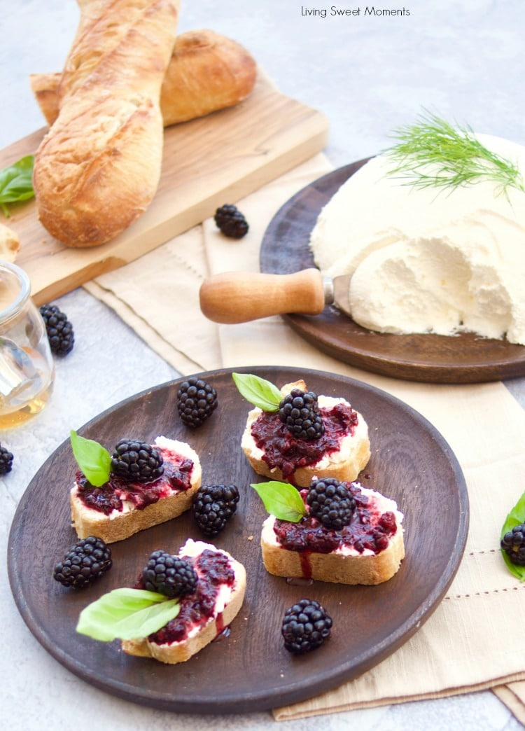 Only 2 ingredients needed for this creamy homemade mascarpone cheese - served as a crostini idea