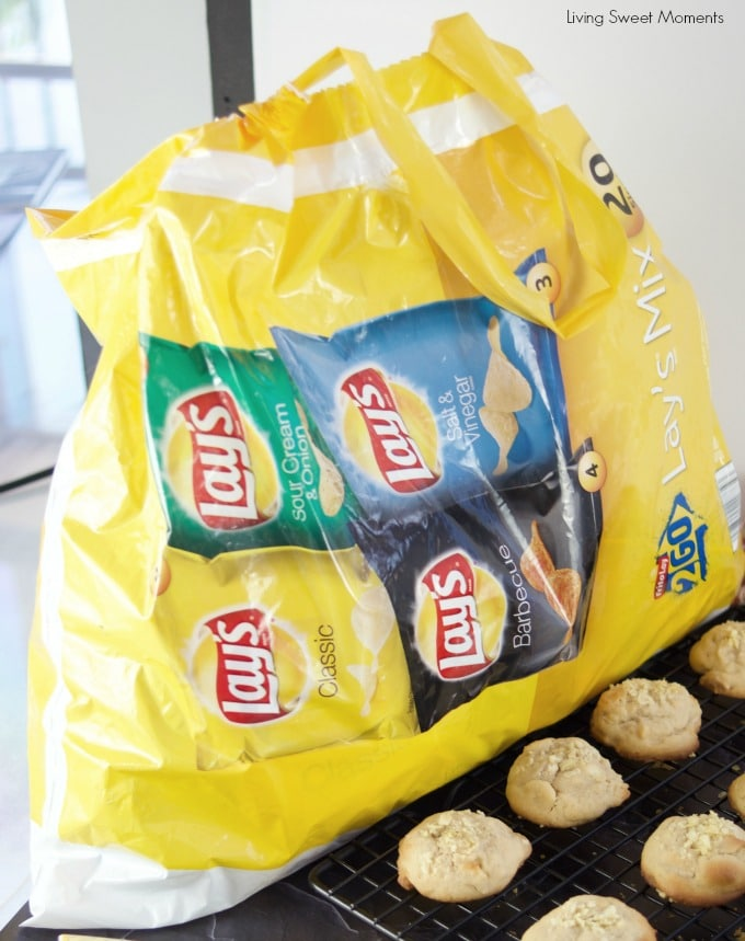These delicious Potato Chip Cookies shown here with a big sack of lay's Sack