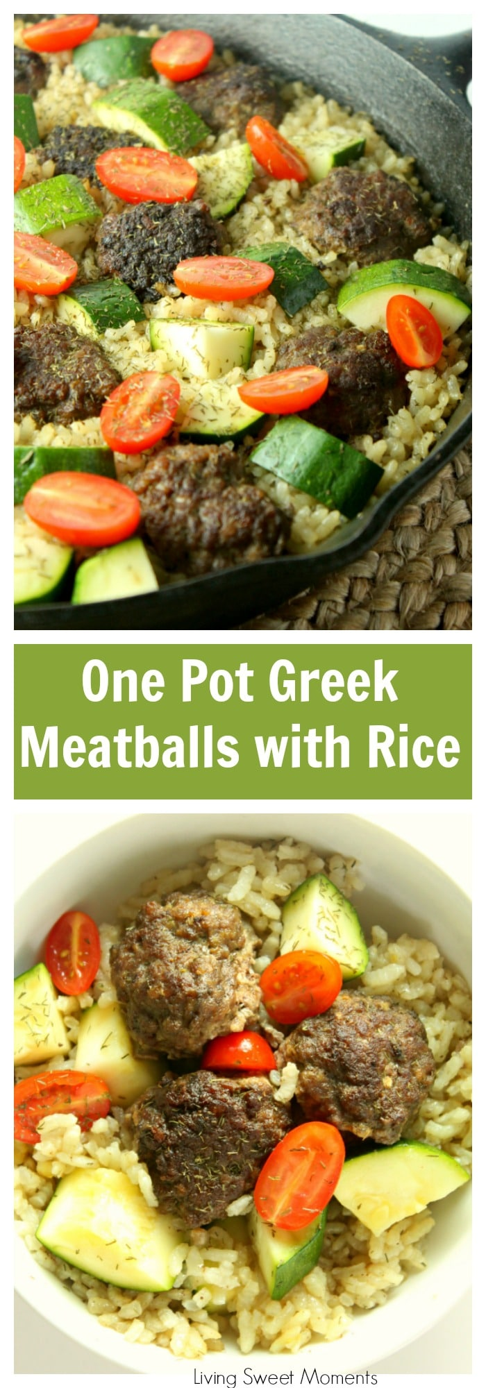 Enjoy a full meal from scratch on the table in 45 minutes or less using only one pan! This delicious One Pot Greek Meatballs is super easy to make, family friendly, and it cooks alongside a fluffy lemon dill rice. Visit Livingsweetmoments.com for more one pot meals