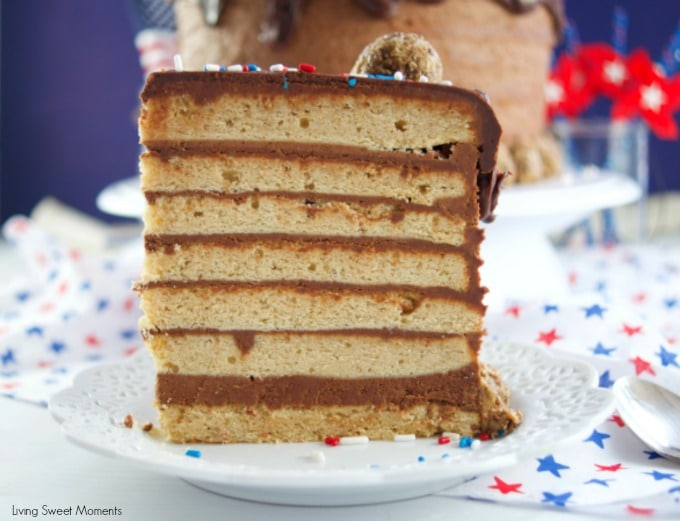 This colossal Peanut Butter Chocolate Cake recipe is made from scratch and is garnished with peanut butter truffles. Showing just a slice of cake