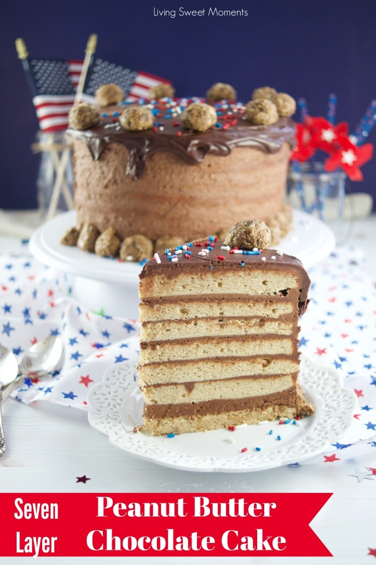 This colossal Peanut Butter Chocolate Cake recipe is made from scratch and is garnished with peanut butter truffles. The ultimate cake for celebrations. Red title at the bottom