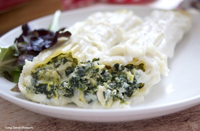 vegetarian dinner under an hour with this cheesy Spinach Artichoke Manicotti made with bechamel sauce and cheese