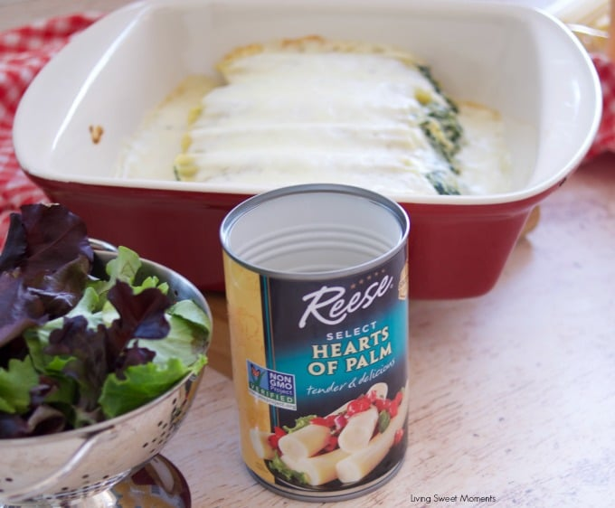 Enjoy a delicious vegetarian comfort dinner under an hour with this cheesy Spinach Artichoke Manicotti baked in a rich Bechamel sauce reese hearts of palm