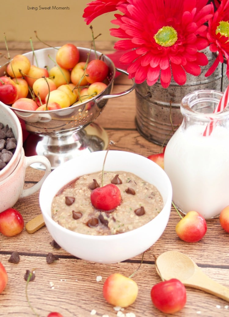 Check out this amazing recipe for Chocolate Cherry Zoats served with chocolate chips with truvia, almond milk and fresh cherries