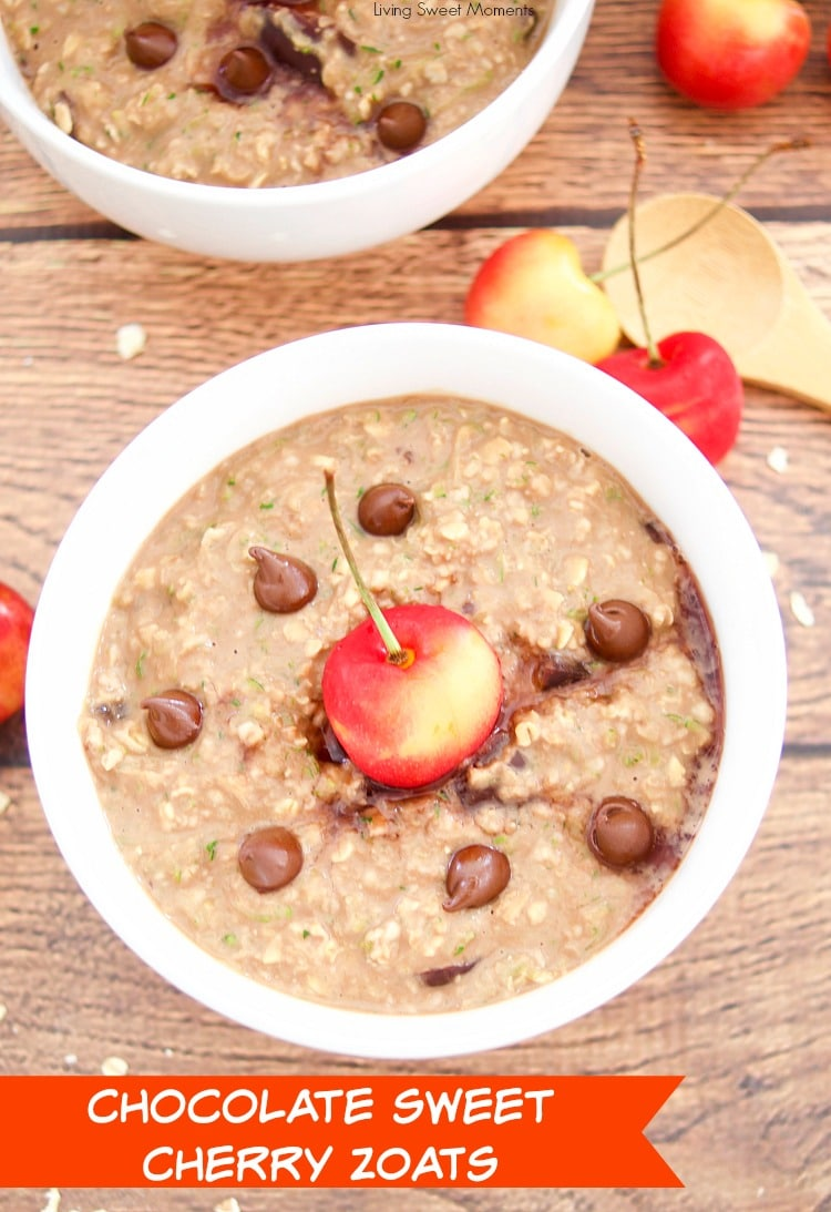 Check out this amazing recipe for Chocolate Cherry Zoats (aka Zucchini Oatmeal) - garnished with chocolate chips and a fresh cherry
