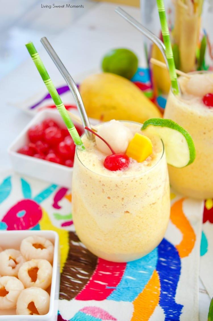 These refreshing Mango Lychee Wine Slushies with a maraschino cherry and a lime garnish
