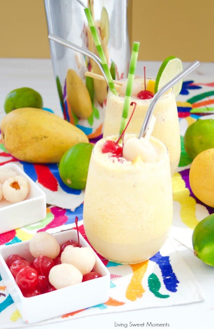 These refreshing Mango Lychee Wine Slushies recipe shown with a large shaker bottle