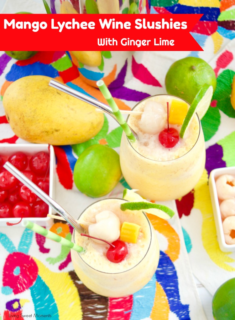 These refreshing Mango Lychee Wine Slushies have a touch of ginger and lime to give your summer drinks a new twist. Perfect for pool parties & celebrations!