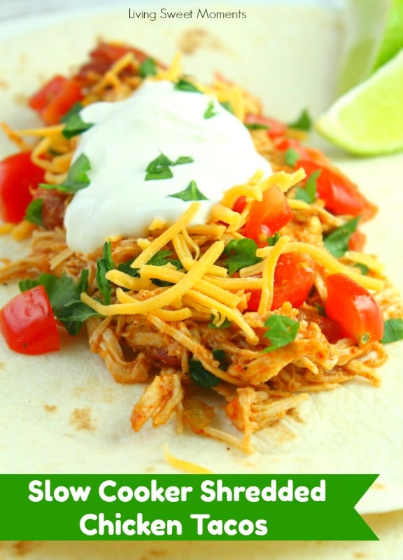 You won't believe how easy these Slow Cooker Shredded Chicken Tacos are to make. Serve in a warm tortilla with your favorite toppings. Make it tonight!
