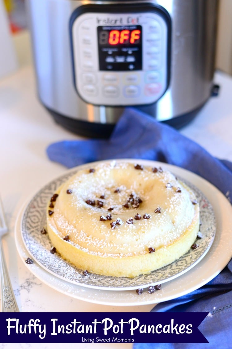 Made with chocolate chunks, these fluffy Instant Pot Pancakes are the perfect fun & delicious breakfast recipe that does not require flipping or babysitting