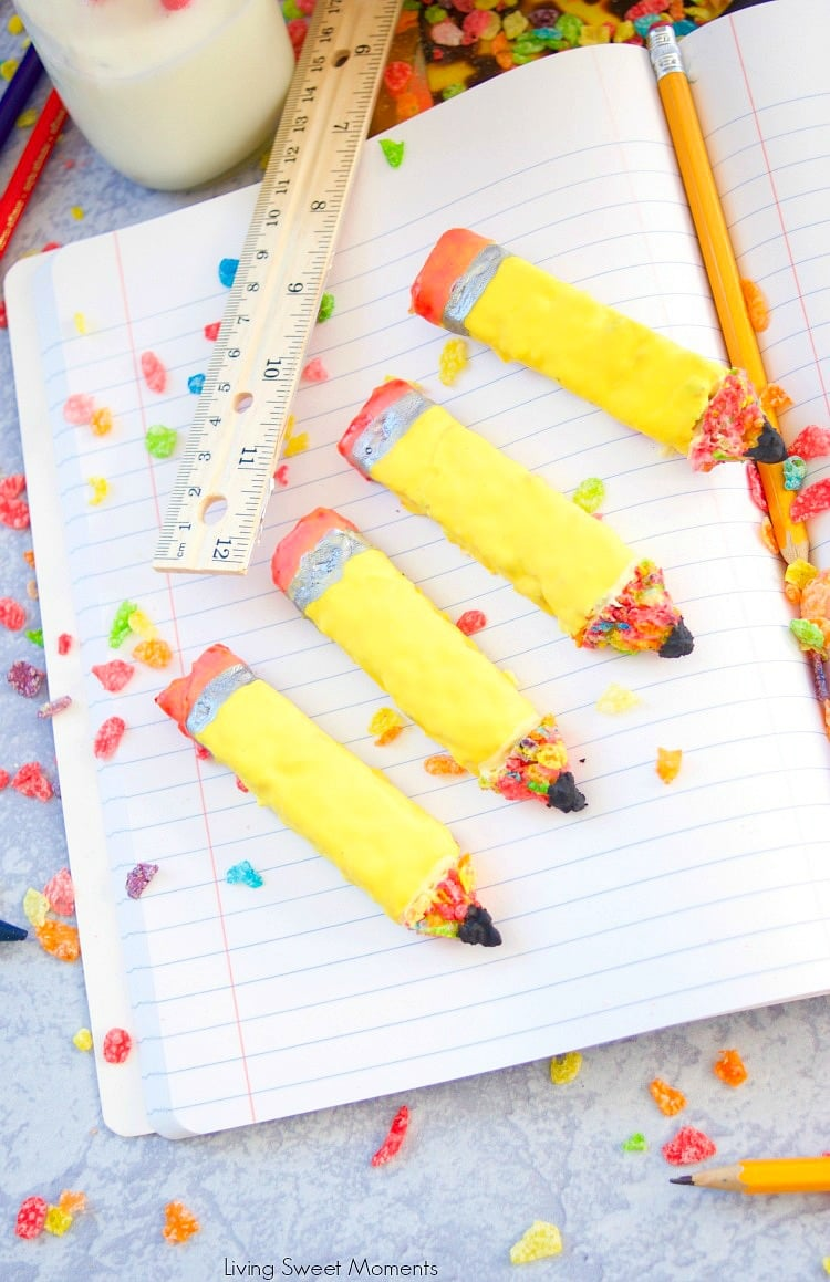 Check out these easy and fun Pencil Shaped Cereal Treats for back to school