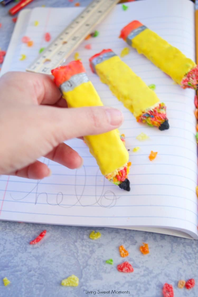 Using Pencil Shaped Cereal Treats to write on paper
