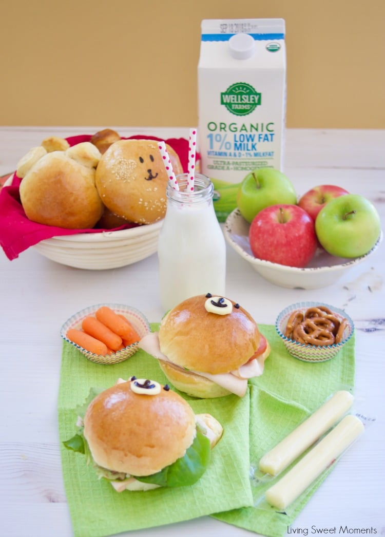 Check out how to make these delicious & adorable Teddy Bear Sandwich Buns served with fruit and wellsley farms organic milk from BJ's