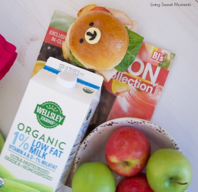 Check out how to make these delicious & adorable Teddy Bear Sandwich Buns served with Wellsley farms organic milk and used BJ's coupon book