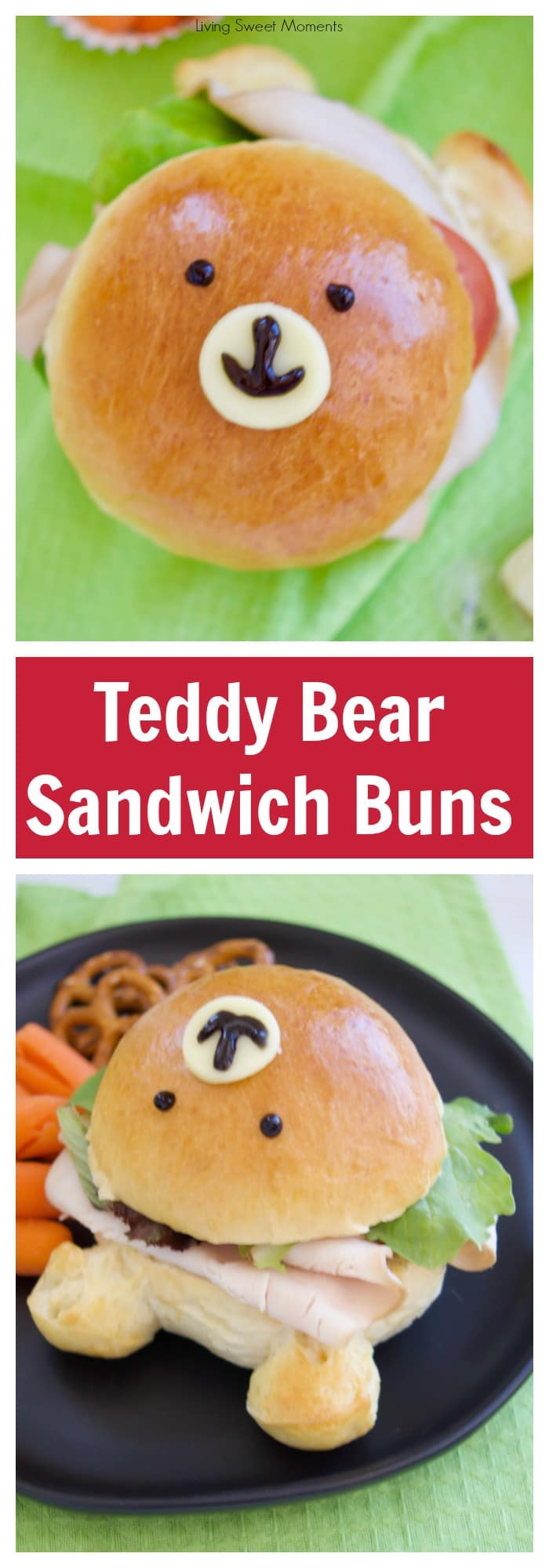 Check out how to make these delicious & adorable Teddy Bear Sandwich Buns. Fill them with your favorite ingredients. Perfect for the lunchbox! More back to school recipes at livingsweetmoments.com #ad