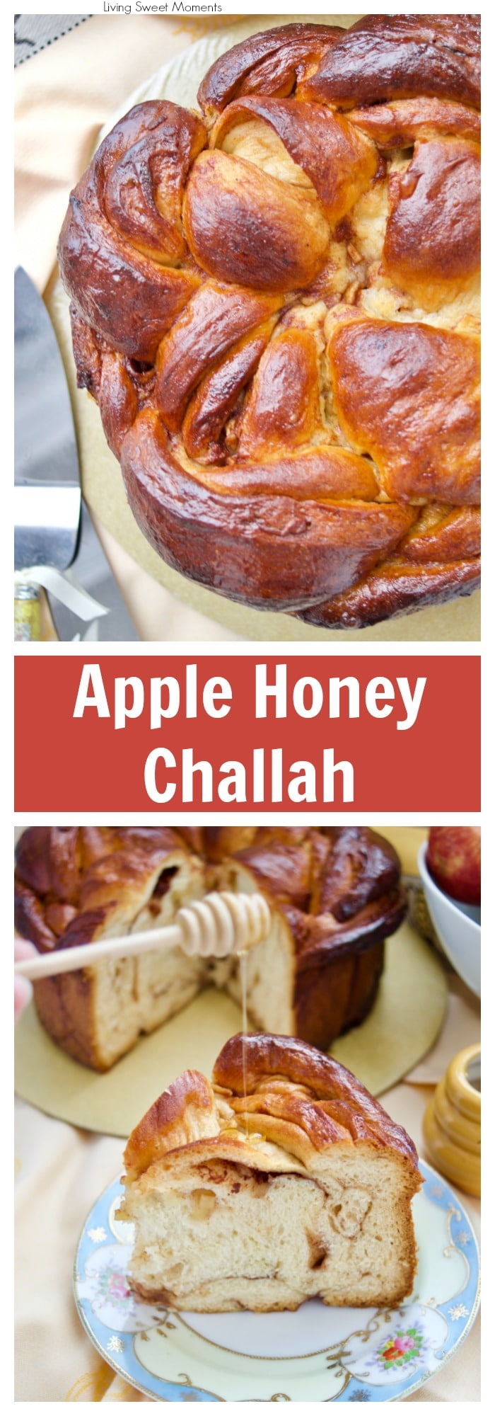 Celebrate a sweet new year with this delicious round Apple Honey Challah recipe. Serve on Erev Rosh Hashanah or have a slice for breakfast. More challah recipes at livingsweetmoments.com