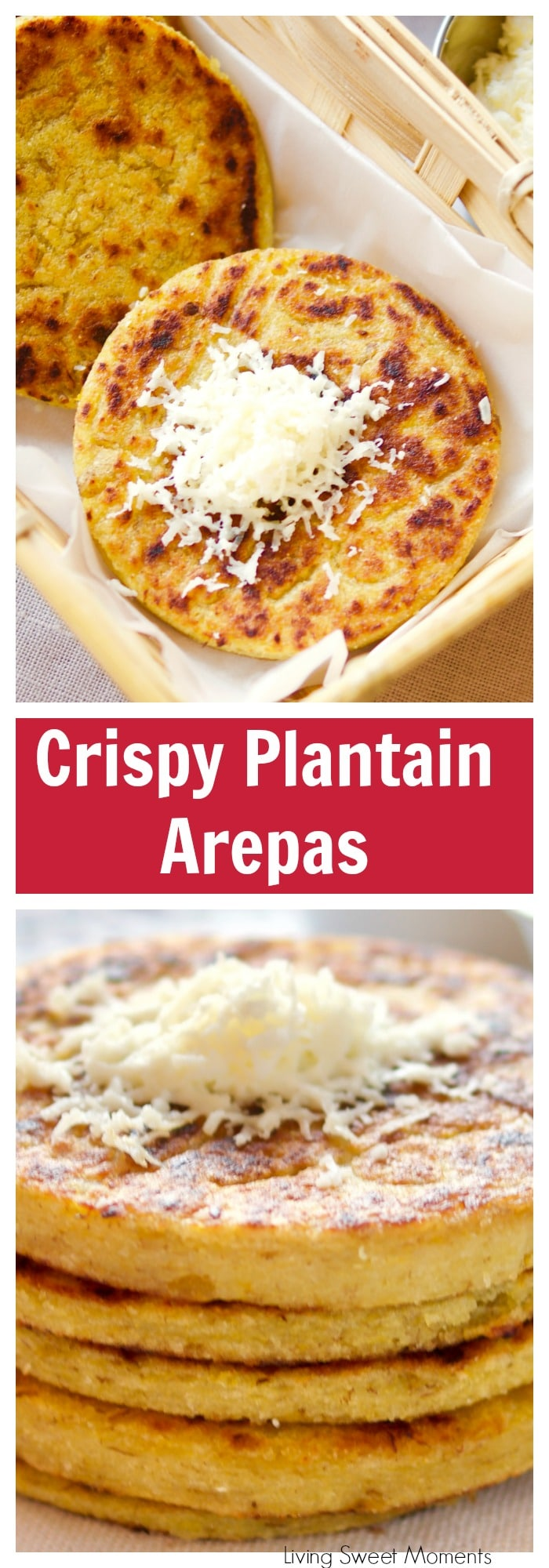 Prepare these easy and delicious Plantain Arepas. Crispy on the outside, soft on the inside, with a touch little sweetness. Serve with shredded cheese. For more gluten free recipes visit Livingsweetmoments.com