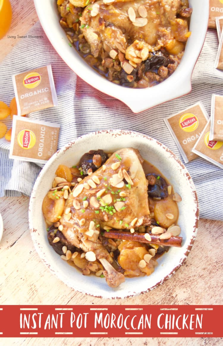 This delicious & quick Instant Pot Moroccan Chicken is made with dried fruit and nuts and served with a refreshing glass of Passion Fruit Black Iced Tea.