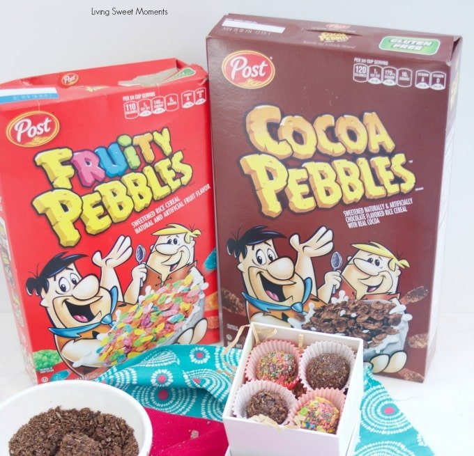 Delicious Fudgy Brigadeiros are made with Pebbles cereal