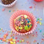 Delicious Fudgy Brigadeiros are made with Pebbles cereal to add flavor and color to these no bake Brazilian fudge balls. The perfect bite size dessert.