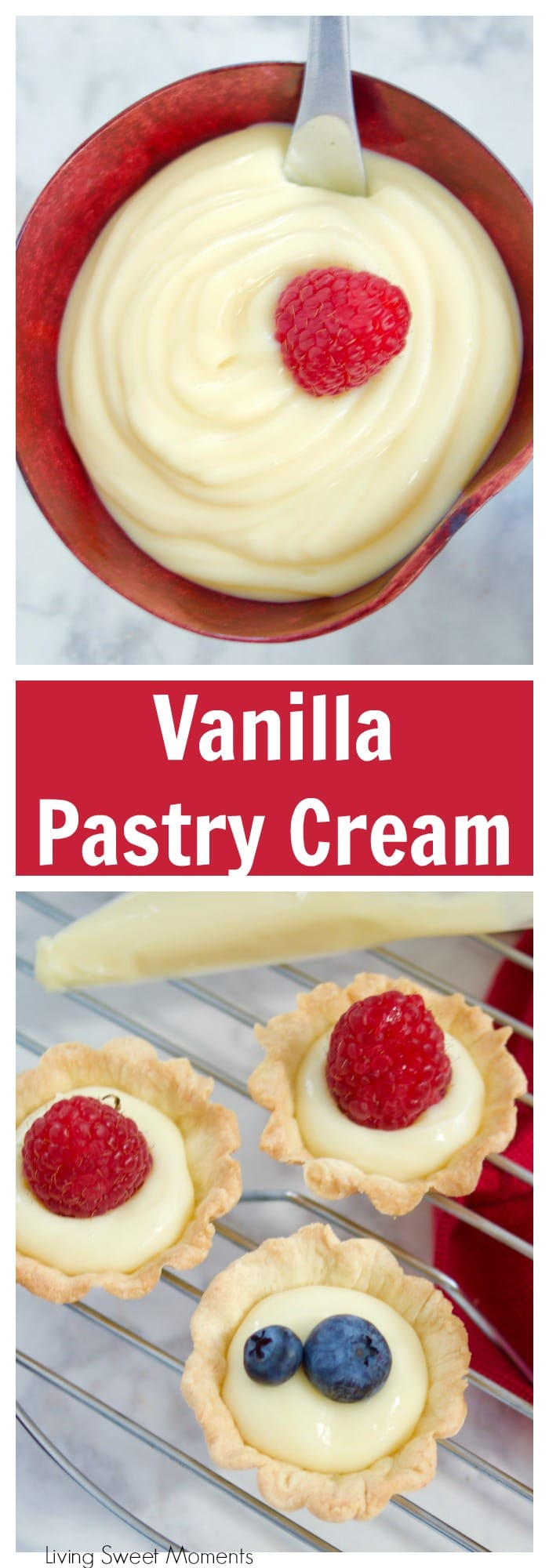 This delicious Vanilla Pastry Cream or Creme Patisserie recipe is creamy, easy to prepare, and is the perfect filling for donuts, cakes, pastries, and more