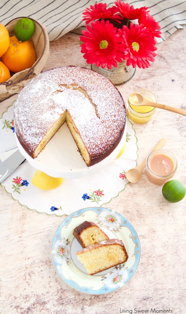 My favorite breakfast recipe! This moist and delicate Citrus Curd Cake has a creamy curd center in between delicate crumbs. Perfect with coffee or tea.
